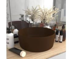 vidaXL Luxuriöses Waschbecken Rund Matt Dunkelbraun 40x15 cm Keramik