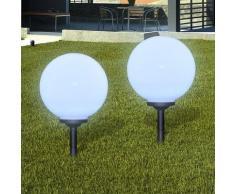 vidaXL Außenlampe Solarlampe LED Gartenkugel 2 Stk. 30cm mit Erdspieß