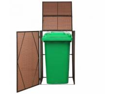 vidaXL Mülltonnenbox für 1 Tonne Poly Rattan 76x78x120 cm Braun