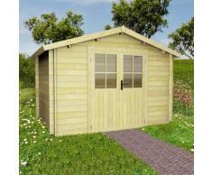 vidaXL 28 mm 3,1 x 3 m Gartenhaus Blockhaus Massivholz