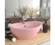 vidaXL Luxus-Waschbecken Überlauf Oval Matt-Rosa 58,5x39 cm Keramik