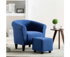 vidaXL 2-tlg. Sessel und Hocker Set Blau Stoff