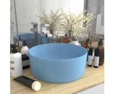 vidaXL Luxuriöses Waschbecken Rund Matt Hellblau 40x15 cm Keramik