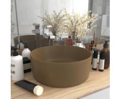 vidaXL Luxuriöses Waschbecken Rund Matt Creme 40x15 cm Keramik