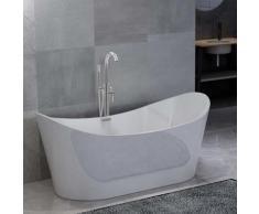 vidaXL Freistehende Badewanne und Wasserhahn 204 L 118,5 cm Silbern