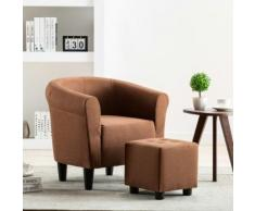 vidaXL 2-tlg. Sessel und Hocker Set Braun Stoff