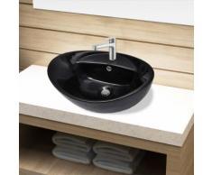 vidaXL Keramik Waschbecken Hahnloch/Überlaufloch schwarz oval