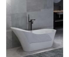 vidaXL Freistehende Badewanne und Wasserhahn 210 L 90 cm Schwarz