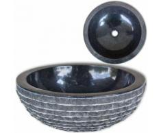 vidaXL Waschbecken Marmor 40 cm Schwarz