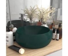 vidaXL Luxuriöses Waschbecken Rund Matt Dunkelgrün 40x15 cm Keramik