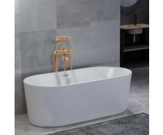 vidaXL Freistehende Badewanne und Wasserhahn 204 L 99,5 cm Golden