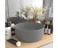 vidaXL Luxuriöses Waschbecken Rund Matt Hellgrau 40x15 cm Keramik