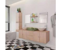 vidaXL 9-tlg. Badmöbel und Waschbecken Set Beige