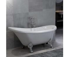 vidaXL Freistehende Badewanne und Wasserhahn 204 L 99,5 cm Silbern