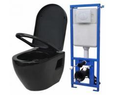 vidaXL Wand-WC mit Spülkasten Keramik Schwarz