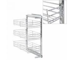 vidaXL 3-stufiger Ausziehbarer Küchen-Drahtkorb Silbern 47x25x56 cm