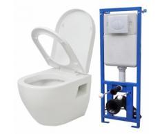 vidaXL Wand-WC mit Spülkasten Keramik Weiß