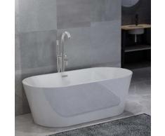 vidaXL Freistehende Badewanne und Wasserhahn 220 L 118,5 cm Silbern