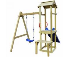 vidaXL Spielturm mit Rutsche Schaukel 228 x 168 x 218 cm Kiefernholz