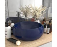 vidaXL Luxuriöses Waschbecken Rund Matt Dunkelblau 40x15 cm Keramik
