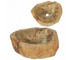 vidaXL Waschbecken 45 x 35 x 15 cm Fossiler Stein Cremeweiß