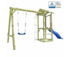 vidaXL Spielturm mit Leiter, Rutsche & Schaukel 400×150×220 cm Holz