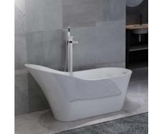 vidaXL Freistehende Badewanne und Wasserhahn 210 L 110 cm Silbern