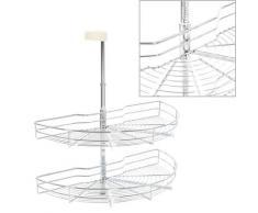 vidaXL 2-stufiger Küchen-Drahtkorb Silbern 180 Grad 75x38x80 cm