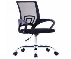 vidaXL Bürostuhl mit Netzrückenlehne Schwarz Stoff