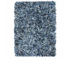 vidaXL Shaggy-Teppich Denim 160 x 230 cm Blau