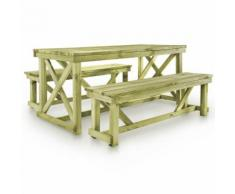 vidaXL Biertisch mit 2 Bänken Holz