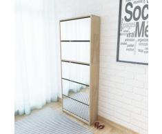 vidaXL Schuhschrank mit 5 Fächern Spiegel Eiche 63×17×169,5 cm