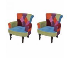 vidaXL Französischer Sessel 2 Stk. Patchwork-Design Stoff