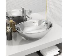 vidaXL Waschbecken 40 x 33 x 13,5 cm Keramik Silber