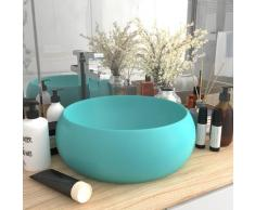 vidaXL Luxuriöses Waschbecken Rund Matt Hellgrün 40x15 cm Keramik
