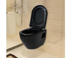 vidaXL Wand-WC Keramik Schwarz