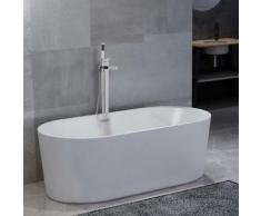 vidaXL Freistehende Badewanne und Wasserhahn 204 L 110 cm Silbern