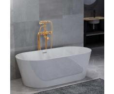 vidaXL Freistehende Badewanne und Wasserhahn 220 L 99,5 cm Golden