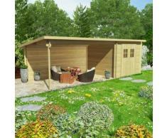 vidaXL Blockhaus Gartenschuppen Massivholz 28 mm 7,3 x 3 m