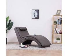 vidaXL Massage Chaiselongue mit Kissen Grau Kunstleder
