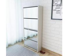 vidaXL Schuhschrank mit 4 Fächern Spiegel Weiß 63×17×134 cm
