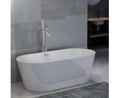 vidaXL Freistehende Badewanne und Wasserhahn 220 L 110 cm Silbern