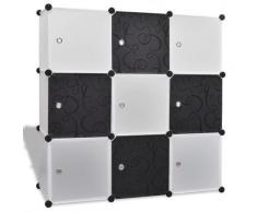 vidaXL Regalsystem Treppenregal Steckregal 9 Fächer 110x37x110cm schwarz-weiß