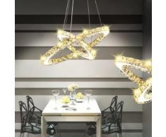 vidaXL LED Kristall Pendelleuchte Deckenleuchte Doppelring-Form 23,6 W