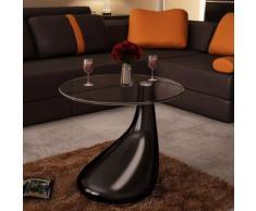 vidaXL Beistelltisch mit runder Glasplatte Hochglanz Schwarz