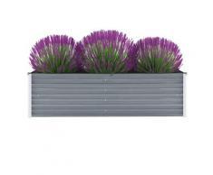 vidaXL Garten-Hochbeet Verzinkter Stahl 160x40x45 cm Grau