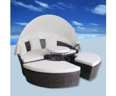vidaXL Outdoor-Sonneninsel Poly Rattan Braun