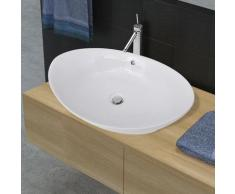 vidaXL Keramik Waschbecken Keramikspülen Überlauf Oval 59 x 38,5 cm