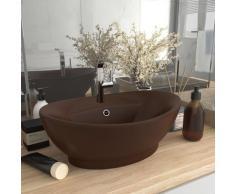 vidaXL Waschbecken Überlauf Oval Matt Dunkelbraun 58,5x39cm Keramik