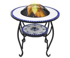 vidaXL Feuerschale Mosaik Blau und Weiß 68 cm Keramik